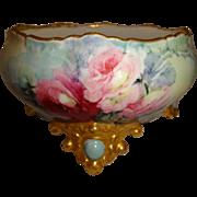 Hand Painted - Porcelain - Ferner - Vase - Center Bowl - Victorian Bouquet - Pink Tea Roses -