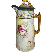 Stunning - Antique - T&V Limoges - France - Chocolate - Coco - Pot - Hand Painted - Romantic V