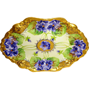 EXQUISITE - GDA - Limoges France - Vanity Tray - Meticulous Hand Painted - Romantic Bouquet -