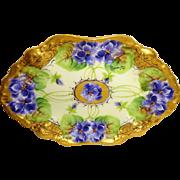 Vintage French Limoges France Tray Hand Painted Purple Violets Artist Signed Berger