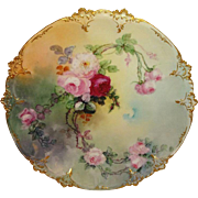 Antique Limoges French Charger Plate Hand Painted Pink Roses Artist Signed Dated 1901