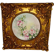 Stunning - Limoges - France - Hand Painted - Plate - Romantic Valentine Bouquet - Chenille Pin