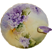 Antique French Limoges Nappy Plate - Hand Painted African Violets