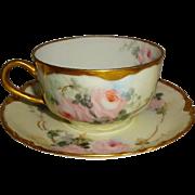 Vintage Haviland Limoges Tea Cup Saucer Hand Painted Pink Roses