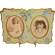 French Vintage Limoges Double Picture Frame Hand Painted Roses