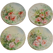 Four (4) Stunning - Hand Painted - Porcelain - Buttons - Studs - Romantic Posies - Pink Roses