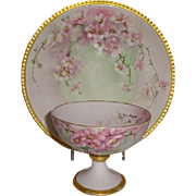 Coiffe - Limoges - France - Hand Painted - Antique French - Porcelain Plate - Matching - Sherb