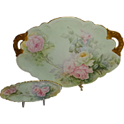 Gorgeous - Guerin - Limoges - France - Dual Handle - Vanity Tray - Matching Trinket Dish - Han