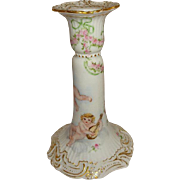 SALE French Antique Limoges France Candlestick with Hand Painted Cherubs Angels Roses Artist .