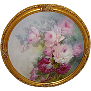 Framed French Antique Limoges Charger Tray Hand Painted Tea Roses