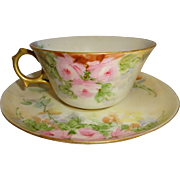 Vintage French Limoges Artist Signed Tea Cup and Saucer Hand Painted with Pink Roses