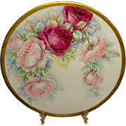 Beautiful - Willets Belleek - Porcelain Plate - Hand Painted - Victorian Bouquet - Pink Sweeth