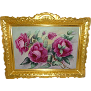 "Magnificent 13 1/2"" French Antique Coiffe Limoges Porcelain Plaque with Hand Painted Pink"