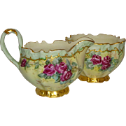 Antique French Coiffe Limoges Sugar Creamer Hand Painted Roses