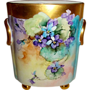 Vintage German Bavaria Cache Pot Vase Jardiniere Hand Painted Purple Violets Artist Signed Ida