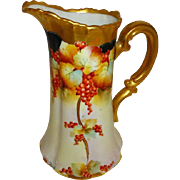 Antique Pickard Pitcher Hand Painted Currants Artist Signed Walters