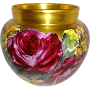Magnificent - Large Jardiniere - Expertly Hand Painted - Beautiful Red Roses - Signed by Famou