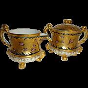 Vintage Japanese Royal Kinran Crown Nippon Japan Footed Sugar Creamer Gilded Design Gold ...