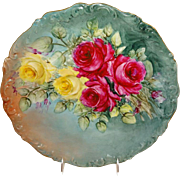 SALE Antique French Limoges Charger with a Stunning Hand Painted Rose Bouquet