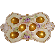 Antique - Limoges - France - 6 Well - Egg Tray - Hand Painted - Purple Violets - Gold Accents