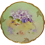 SALE Antique French Limoges China Plate with Purple Violets Hand Painted and Pickard Artist ..