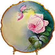 French Antique Limoges Plaque Hand Painted Pink Roses Artist Signed
