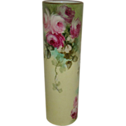 Lovely - MZ - Austria - Austrian - Vase - Hand Painted - Trailing Pink Tea Roses - Coin Gold .