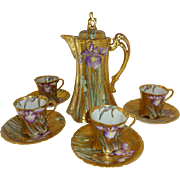 Nippon - Japan - Gold Encrusted - Chocolate - Coco - Pot  - 4  Matching Cups  with 4 Matching
