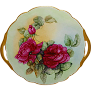 SALE Antique French Limoges Cake Plate with Hand Painted Red Roses
