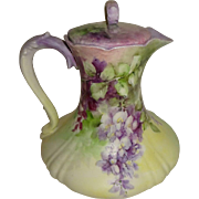 Vintage French Limoges Chocolate Pot Hand Painted Lavender LILACS