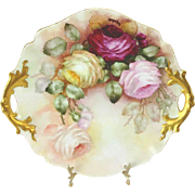 Antique French Limoges Double Handle Hand Painted Plate with Roses