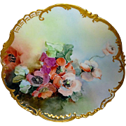 Limoges - FRANCE - Plate - Hand Painted - Poppies - Artist Signed - One-of-a-Kind - Masterpiec