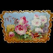 Vintage Limoges France Tray Scalloped Rim Hand Painted English Rose Garden Master Artist Signe