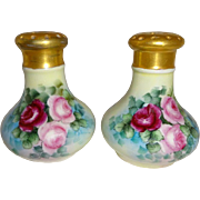 MZ Austria -  Austrian - Salt - Pepper - Shakers - Hand Painted - Roses - Lush Greenery - Arti