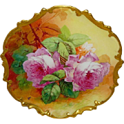 Vintage French Limoges Plaque Hand Painted Pink Roses Artist Signed