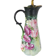 Beautiful Porcelain Chocolate Pot with Hand Painted Pink Tea Roses