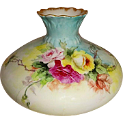 Lovely - Austria - Austrian - Squat - Vase - Hand Painted - Trailing Tea Roses - Coin Gold Acc