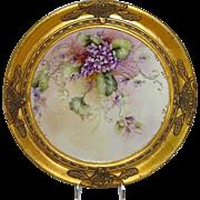 Vintage French Limoges Framed Hand Painted Charger Violets Signed