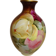 Antique French Limoges Vase with Hand Painted Tea Roses