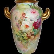 SALE Antique Rosenthal Bavaria German Vase Hand Painted Roses Artist Signed