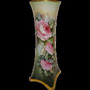 "15"" - Bavaria German Vase Hand Painted Cascading Pink Roses"