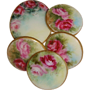 5 Hand Painted Porcelain Buttons Studs Pink Roses Artist Signed Dated '03