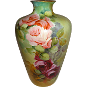 Antique Rosenthal German Bavaria Vase Hand Painted with Pink Tea Roses