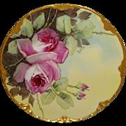 BEAUTIFUL - Haviland - Limoges - France - Porcelain Plate - Hand Painted - Large Pink Sweethea