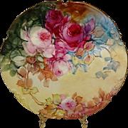 JPL - LImoges - France - Hand Painted - Antique Porcelain - Plate - Romantic Victorian Bouquet