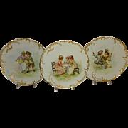 3 - Antique - Haviland - Limoges - France - Portrait - Figural - Plates - Coin Gold Ornate Bor