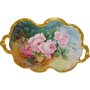 Vintage Limoges France Hand Painted Tray Pink Tea Roses Dual Gold Handles