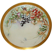 "Antique 18"" French Limoges TRAY Hand Painted Grapes Artist Signed Dated 1908"