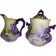 French Limoges Antique Sugar Creamer Hand Painted Purple Violets