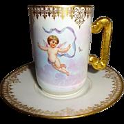 DC - Limoges - France - Chocolate - Coco - Demitasse - Cup - Saucer - Cherubs - Circa 1900 - .